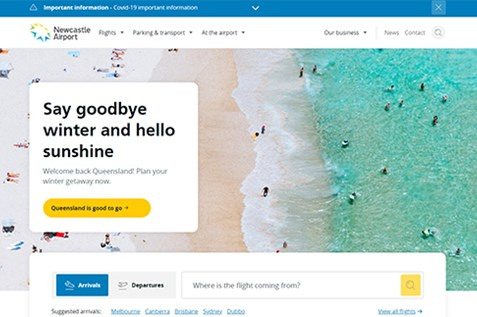 newcastle airport new travel website