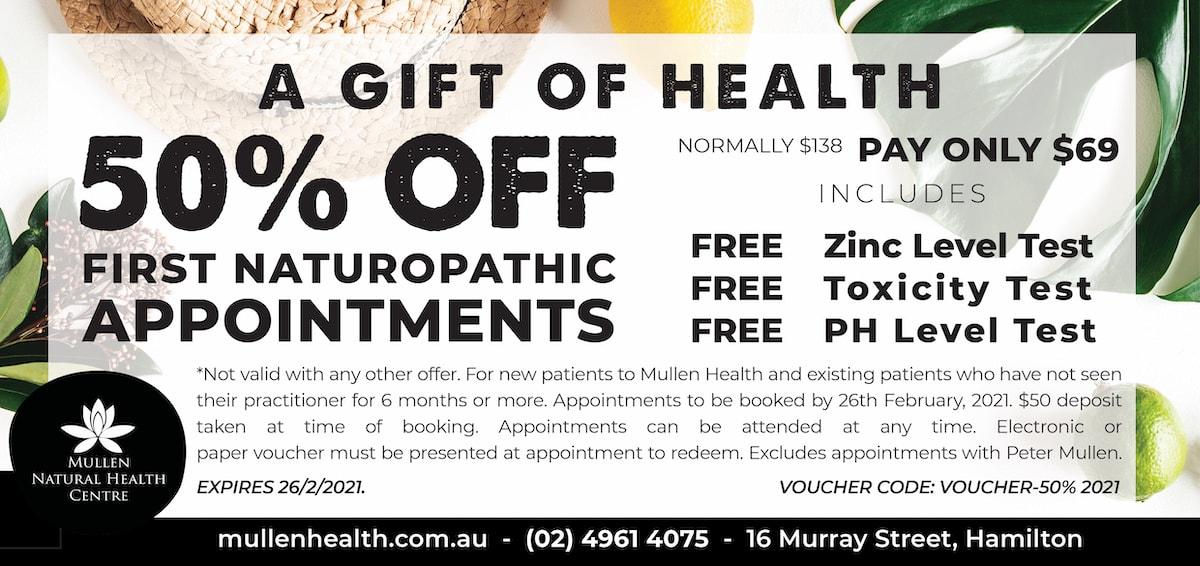 mullen natural health consultation voucher
